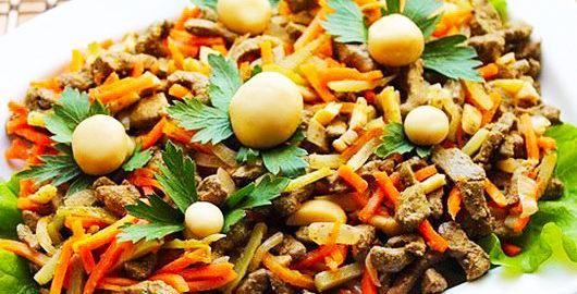 салат из говяжей печени